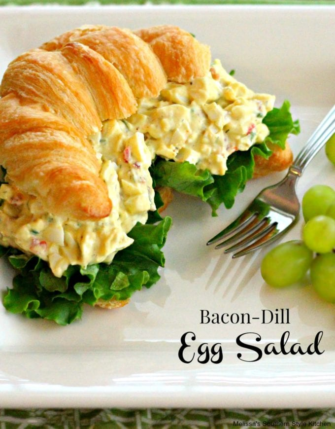 Bacon-Dill Egg Salad with Pimentos on a croissant
