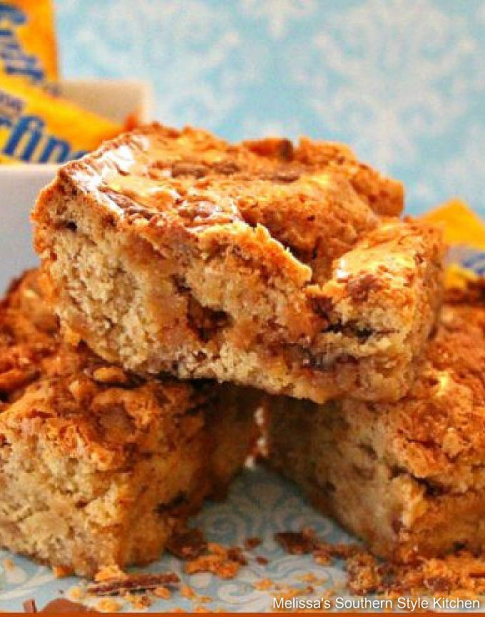 Butterfinger Cookie Bars made with crushed candy bars