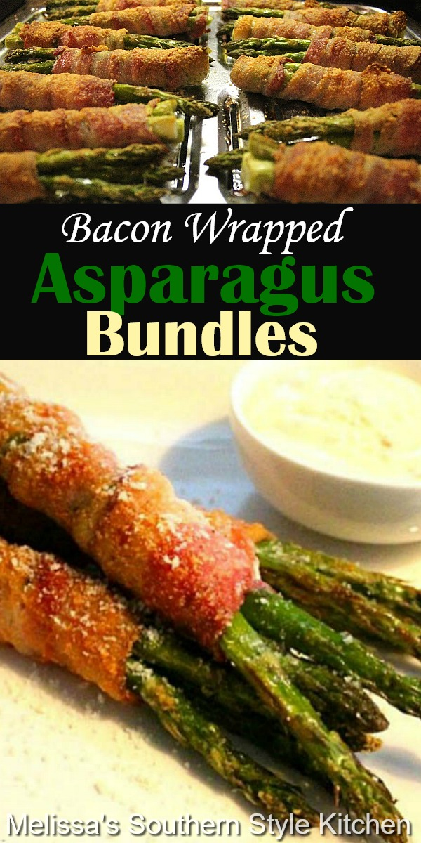 These stunning baked Bacon Wrapped Asparagus Bundles will turn any occasion into something special #bacon #baconwrappedasparagus #asparagusrecipes #sidedishrecipes #bacon #asparagus #baconrecipes #southernfood #holidaysides #southernrecipes