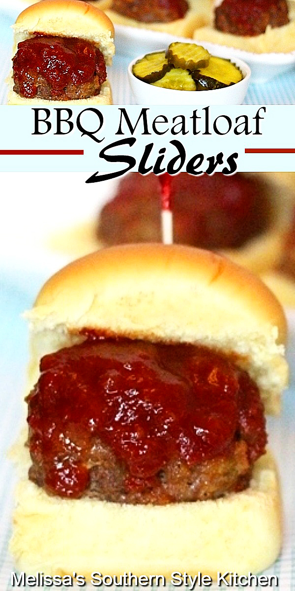These two-bite BBQ Meatloaf Sliders are ideal for appetizers, casual meals and snacking #meatloaf #meatloafrecipes #easygroundbeefrecipes #sliders #meatballs #meatloafsliders #barbecue #appetizerrecipes #southernfood #southernrecipes