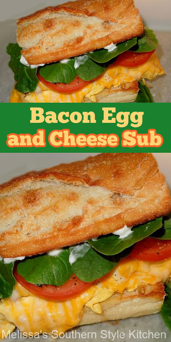 Made on French bread cut this Bacon Egg and Cheese Sub into individual portions to share #baconandeggs #eggsubs #eggsandwich #breakfast #brunch #southernrecipes #baconeggandcheese