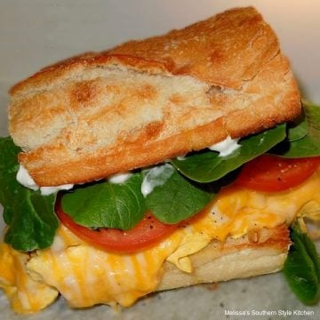 Bacon Egg and Cheese Subs with Spinach and Roma Tomatoes recipe