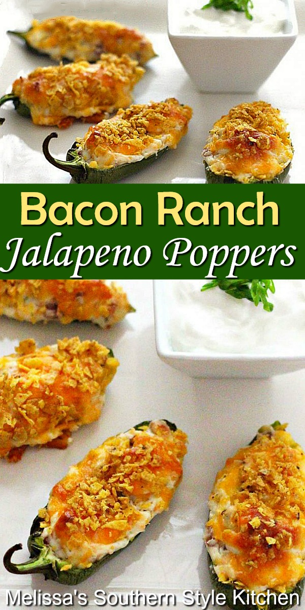 Bring the heat to your appetizer menu with these Bacon Ranch Jalapeno Poppers that are baked not fried! #jalapenopoppers #jalapenos #poppers #bakedpoppers #bacon #baconranchdressing #ranchdressing #bakedjalapenopoppers #appetizers #gamedayfood #partyfood #southernrecipes #southernfood
