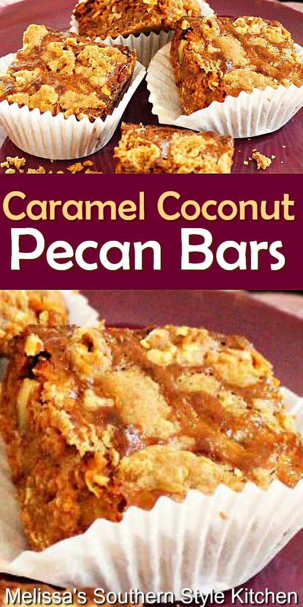 Rich and chewy Caramel Coconut Pecan Bars #caramelcoconutbars #caramelcookiebars #pecancookiebars #cakemixhacks #dessert #dessertfoodrecipes #southernfood #southernrecipes #picnicdesserts #coconut