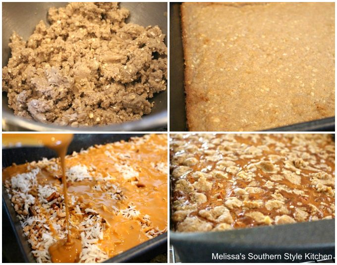 Step-by-step preparation images and ingredients for Caramel Coconut Pecan Bars