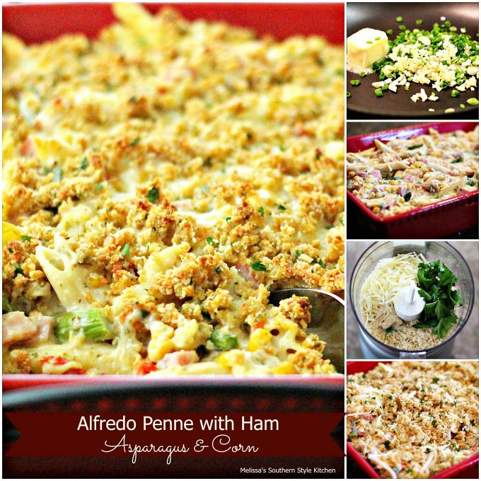 Alfredo Penne With Ham Asparagus And Corn