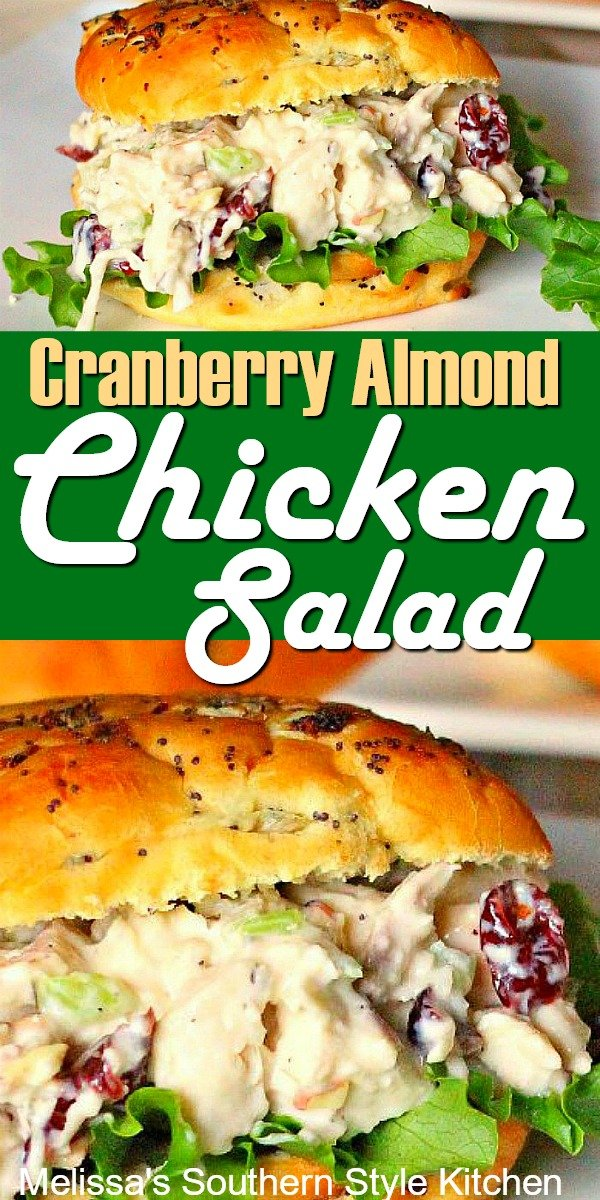 Stuff croissants, lettuce or rolls with a heaping helping of this Cranberry Almond Chicken Salad #chickensalad #chickenbreastrecipes #chicken #cranberrychickensalad #easyrecipes #dinner #dinnerideas #southernrecipes #southernfood #food