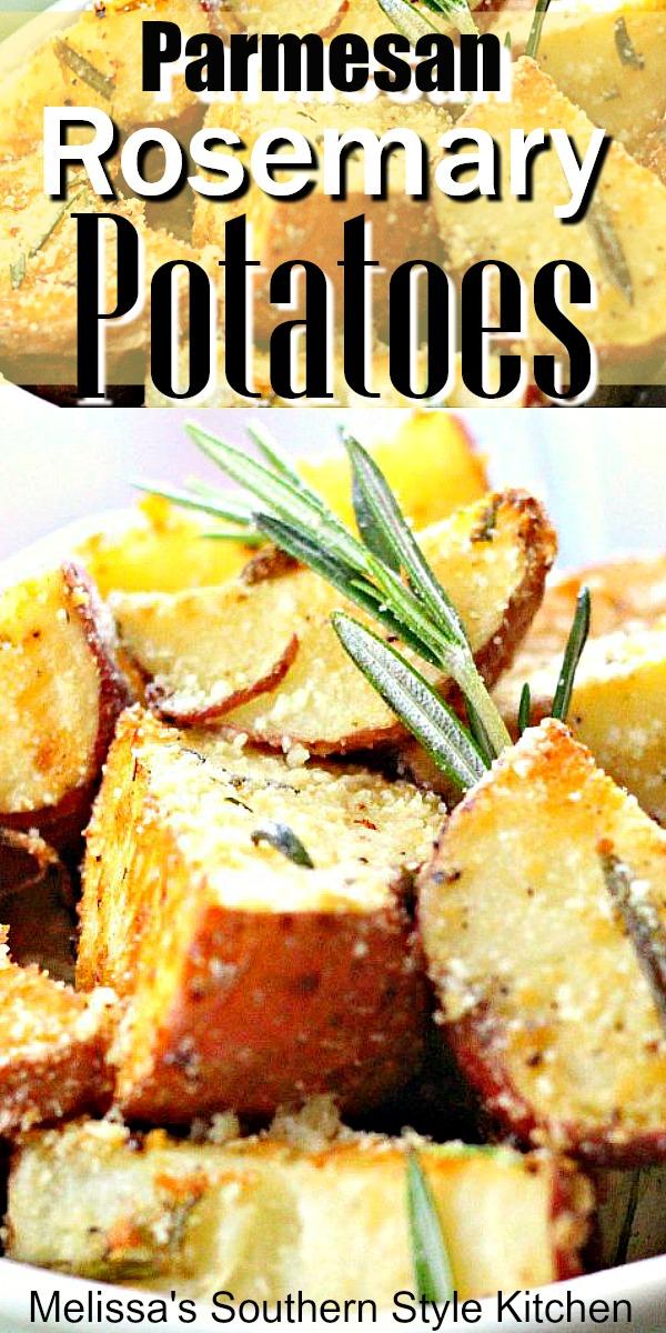 Parmesan Rosemary Roasted Potatoes #roastedpotates #easysidedishes #food #recipes #roasemarypotatoes #easypotatorecipes #southernfood #southernrecipes