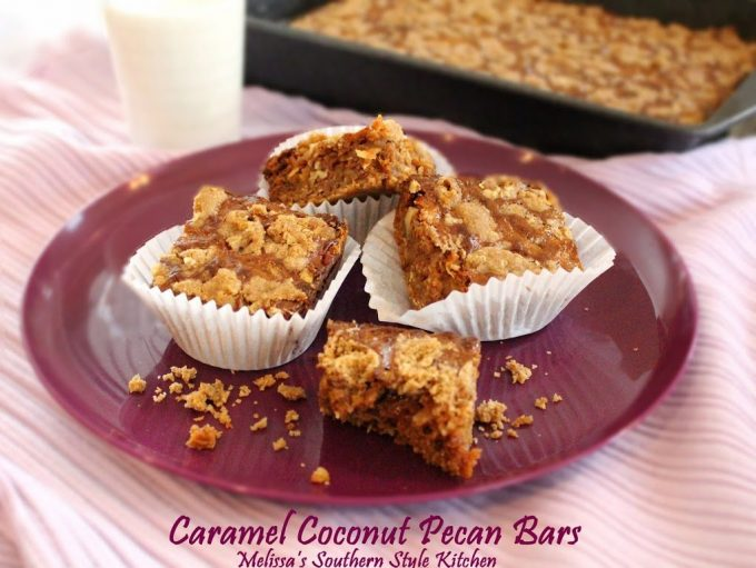 creamy, buttery, caramel. Hallelujah. These caramel coconut pecan bars ...