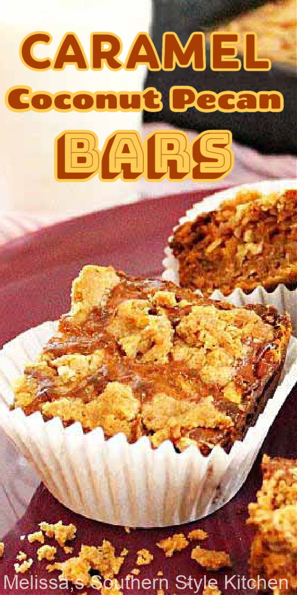 Rich and chewy Caramel Coconut Pecan Bars are a delicious cake mix hack that anyone can make #caramelcoconutbars #caramelcookiebars #pecancookiebars #cakemixhacks #dessert #dessertfoodrecipes #southernfood #southernrecipes #picnicdesserts #coconut