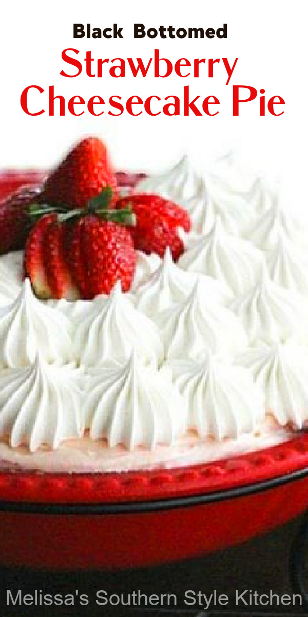 This luscious Strawberry Cheesecake Pie has a hidden chocolate layer hidden inside #strawberrycheesecake #strawberrypie #strawberries #chocolate #desserts #summerpies #pierecipes #cheesecake #dessertfoodrecipes #southernfood #southernrecipes