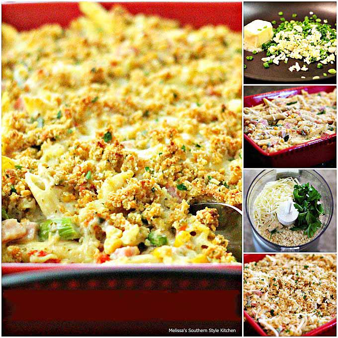 ingredients-to-make-alfredo-penne-ham-casserole