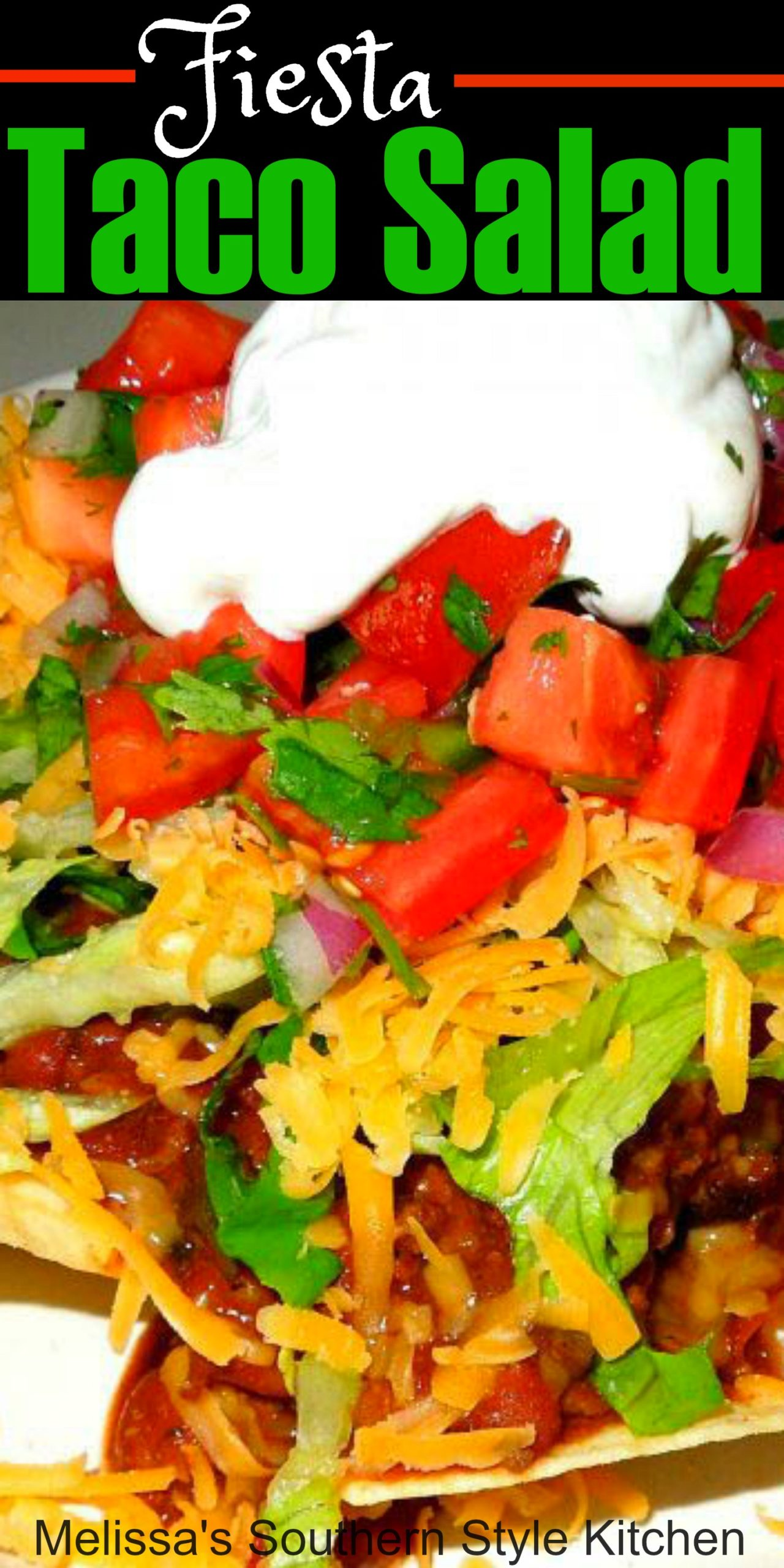 Fiesta Taco Salad will have the family running to the table #tacosalad #tacos #tacorecipes #chili #saladrecipes #tacotuesday #southernrecipes #southernfood #melissassouthernstylekitchen #dinnerideas