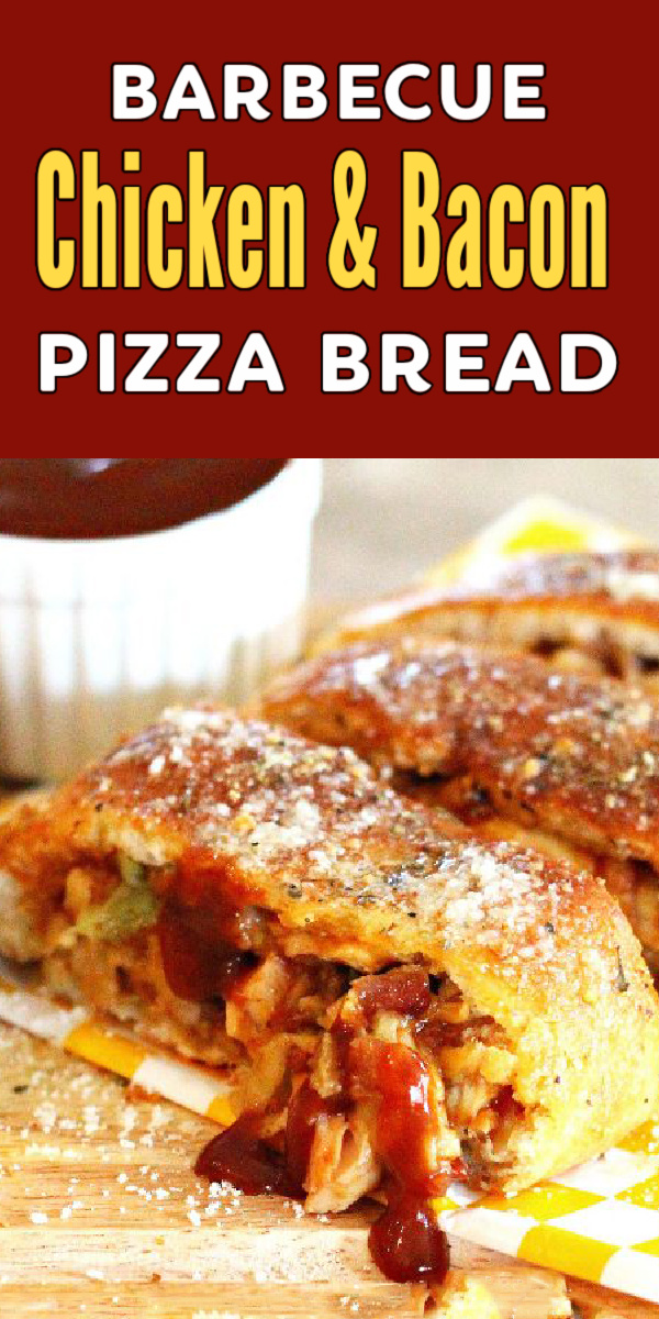 ThisBarbecue Chicken Bacon Pizza Breadrolls up dinner in pizza dough for a quick weekday meal #chicken #easychickenrecipes #pizza #barbecue #barbecuechicken #chickenrecipes #barbecuerecipes #30minutemeals #pizzadough #pizzabread