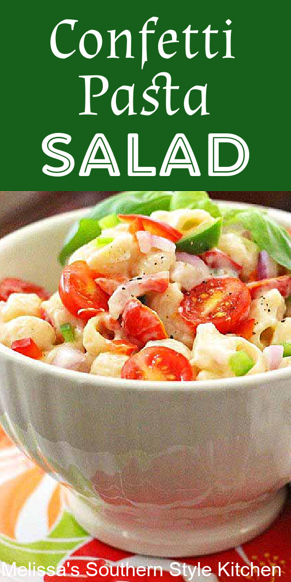 This colorful Confetti Pasta Salad is filled with fresh vegetables all tossed with a creamy homemade dressing #pastasalad #pastasaladrecipes #confettipasta #pasta #pastarecipes #sidedishrecipes