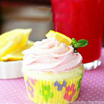 pink lemonade frosted cupcake