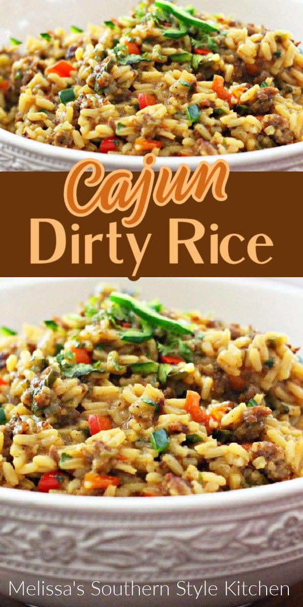 Cajun Dirty Rice is packed with flavor making it complementary to a myriad of entrees #dirtyrice #cajun #rice #sidedishrecipes #ricerecipes #sausage #ricepilaf #southernfood #dinnerides #dinner #easyrecipes #NOLA #southernrecipes