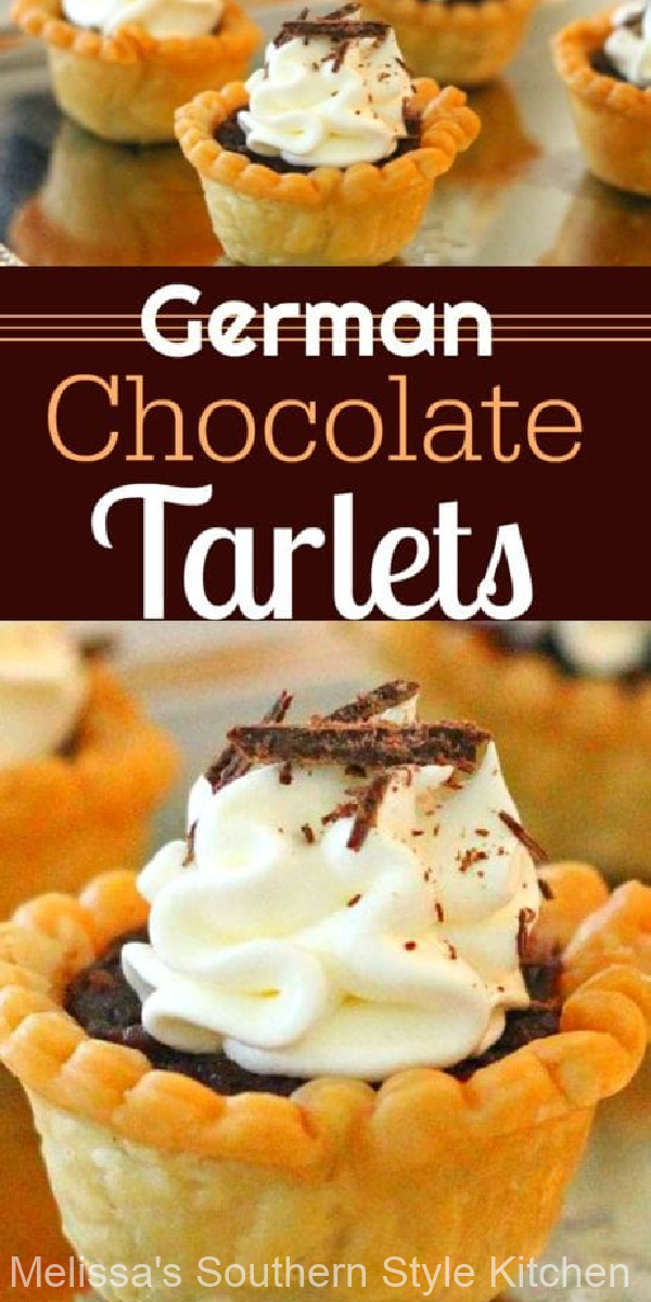 Add these easy two-bite German Chocolate Tartlets to your special occasion desserts menu #germanchocolate #germanchocolatetarts #minipies #chocolatetarts #chocolate #minipies #germanchocolatetart