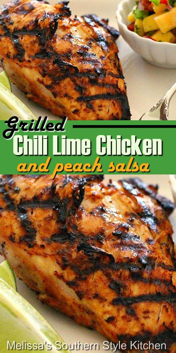 This spicy Grilled Chili Lime Chicken and Peach Salsa is a must make this summer #grilledchicken #chililimechicken #easychickenrecipes #chickenbreastrecipes #dinner #dinnerideas #chili #peaches #peachsalsa #salsarecipes #southernfood #southernrecipes