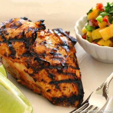 Grilled Chili Lime Chicken with Peach Salsa