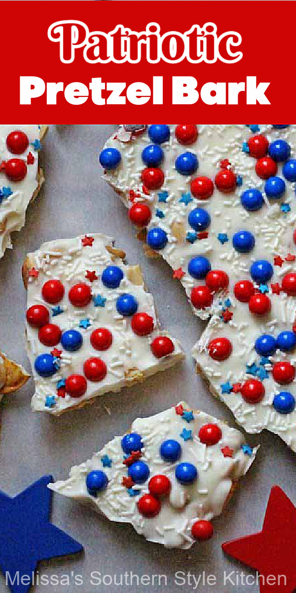 This Patriotic Pretzel Bark is the perfect sweet and salty candy treat for your next Memorial Day remembrance, July 4th or Labor Day cookout #pretzelbark #candybark #whitechocolate #nobakedesserts #july4th #memorialdayrecipes #patrioticcandybark