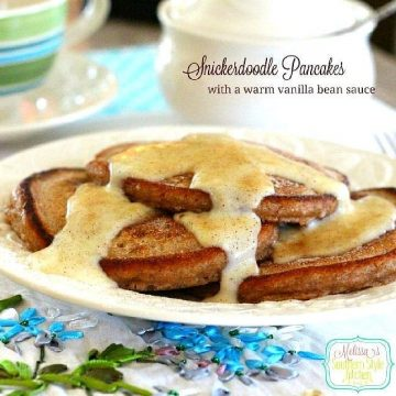 Snickerdoodle Pancakes with a Warm Vanilla Bean Sauce