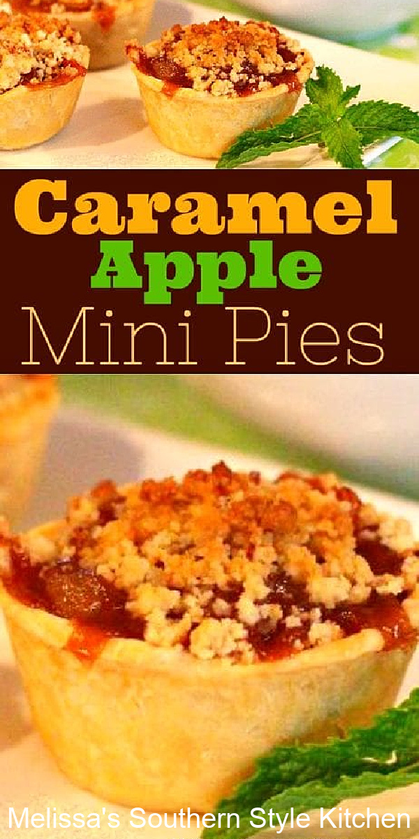 These Caramel Apple Mini Pies are the perfect size for a scoop of vanilla ice cream or dollop of fresh whipped cream #applepie #minipies #easypierecipes #apples #pie #caramelapples #caramelapplepie
