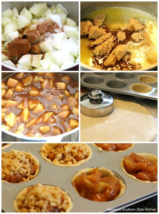 step-by-step images and ingredients for apple pies