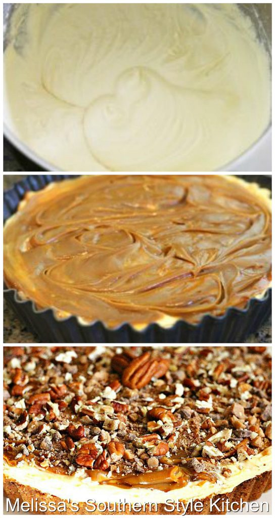 Step-by-step preparation images and ingredients for Caramel Swirl Cream Pie