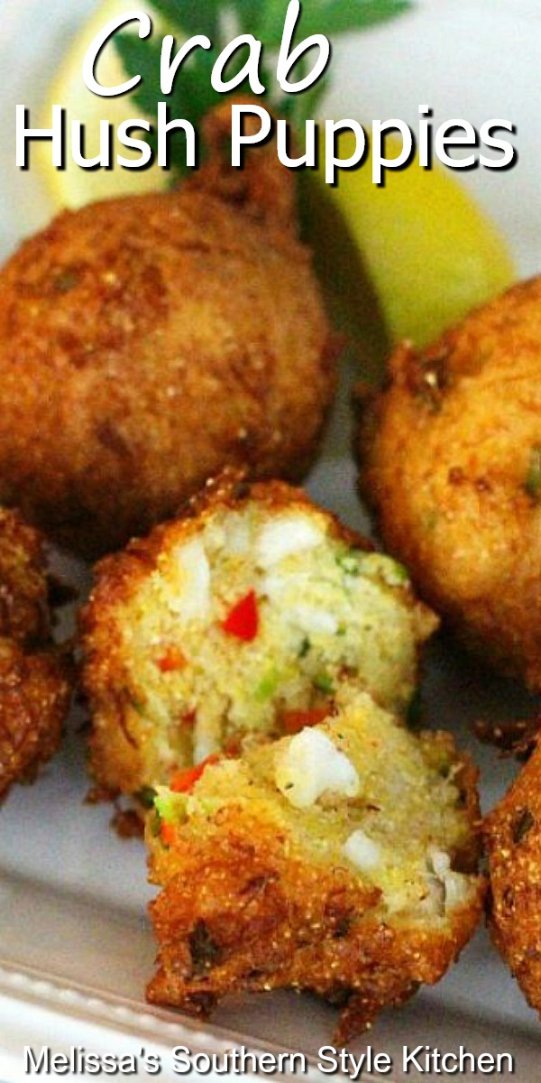 Jump Lump Crab Hush Puppies are simply irresistible #crab #crabhushpuppies #hushpuppies #jumbolumpcrab #seafood #appetizers #snacks #southernfood #southernrecipes #partyfood