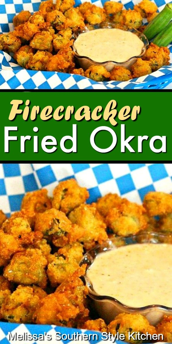 Crispy and delicious Firecracker Fried Okra #friedokra #okrarecipes #summer #vegetarian #vegetables #okra #southernfood #dinnerideas #dinner #southernfood #southernrecipes