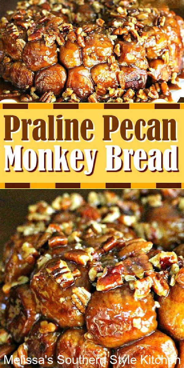This ooey gooey Praline Pecan Monkey Bread will disappear in no time flat #monkeybread #pralines #pralinepecan #monkeybreadrecipes #bread #sweetbreads #appetizers #partyfood #footballfood #pecans #bestevermonkeybread #dinnerrolls #southernrecipes #southernfood #desserts #dessertfoodrecipes