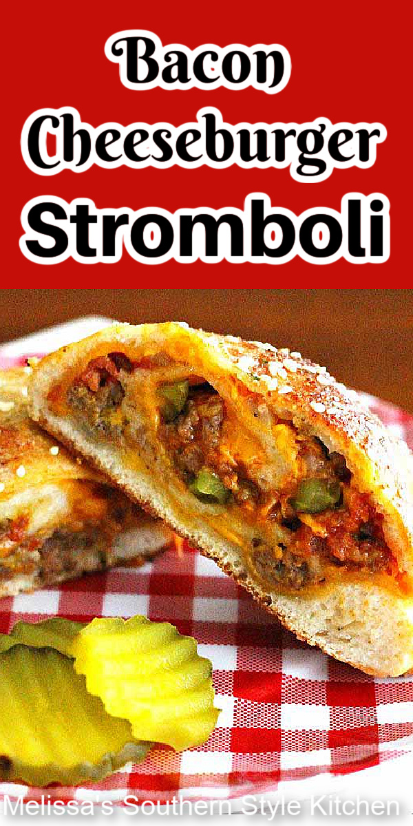 Skip the buns and make this Bacon Cheeseburger Stromboli with pizza dough and you'll wrap up dinner in no time flat #baconcheeseburgers #cheeseburgerrecipes #stromboli #baconcheeseburgerstromboli #pizzadough #strombolirecipes