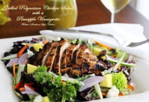 Grilled Polynesian Chicken Salad With A Pineapple Vinaigrette: