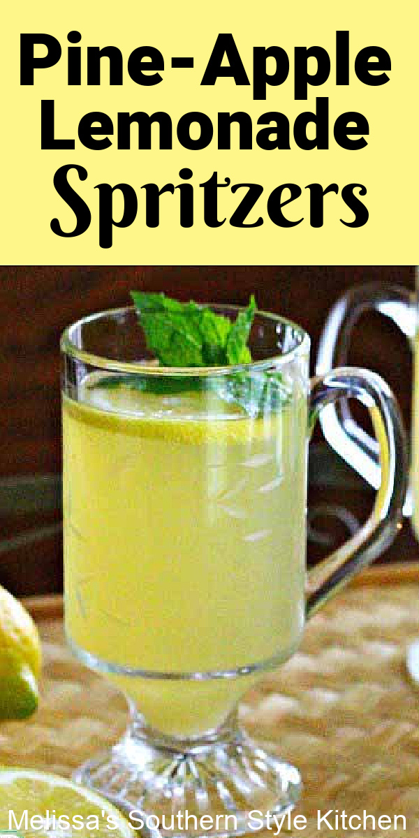 These family-friendly Pine-Apple Lemonade Spritzers are picnic ready #pineapplejuice #pineapplespritzers #lemonade #lemonadespritzers #nonalcoholic #drinks #drinkrecipes #picnicfood #summerdrinks