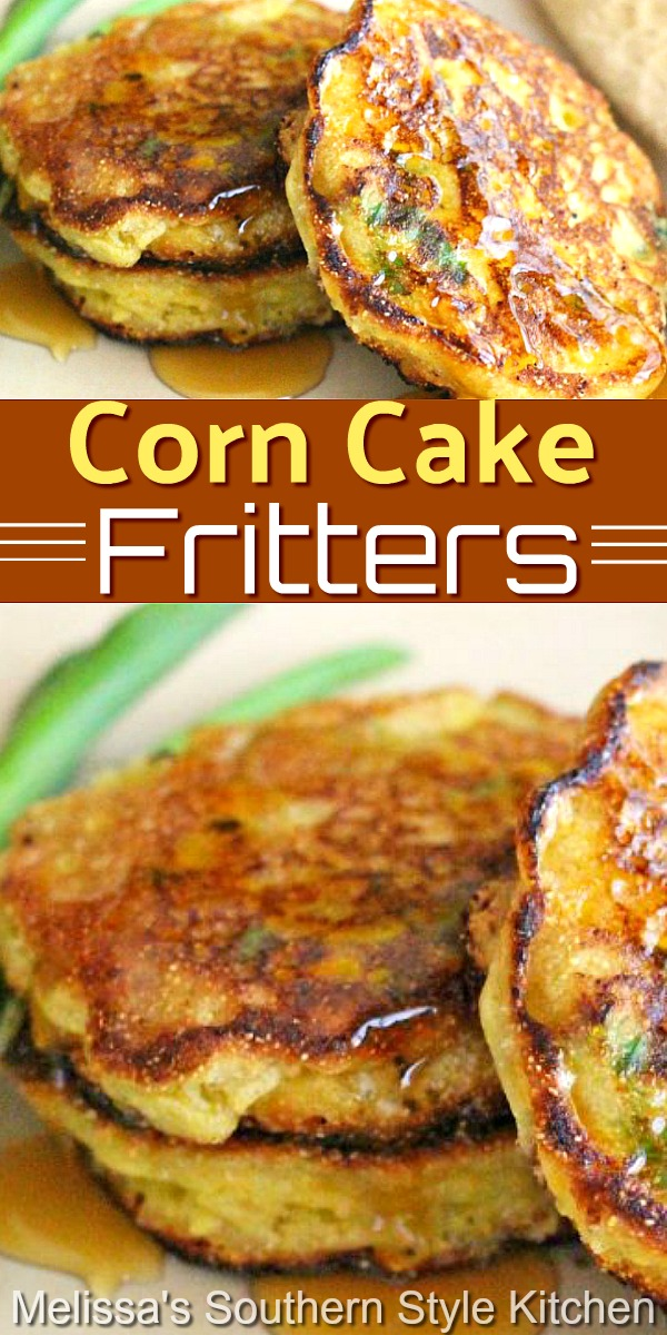 Drizzle these corn fritters with pure maple syrup for a rocking side dish at any meal #cornfritters #corncakes #cornrecipes #sidedishrecipes #cornrecipes #southernfood #southernrecipes #vegetarian