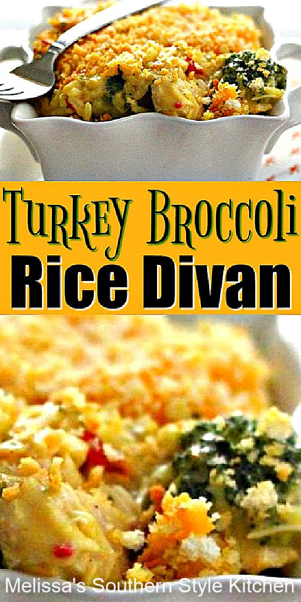 Turn leftover turkey into this Turkey Broccoli Rice Divan. It's equally delicious with chicken, and a tasty way to enjoy a round 2 meal #turkeydivan #chickendivan #chickenandrice #leftoverturkeyrecipes #turkeyrecipes #casseroles #dinnerideas #dinner #southernfood #southernrecipes #turkey #thanksgiving