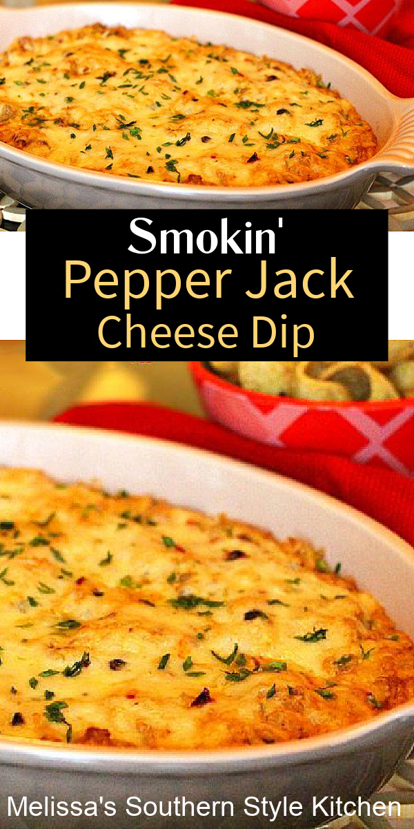 This baked Smokin Pepper-Jack Cheese Dip is perfection served with tortilla chips, fritos, pita chips or crostini for dipping #pepperjackdip #bakedcheesedip #pepperjackcheesediprecipe #appetizerrecipes