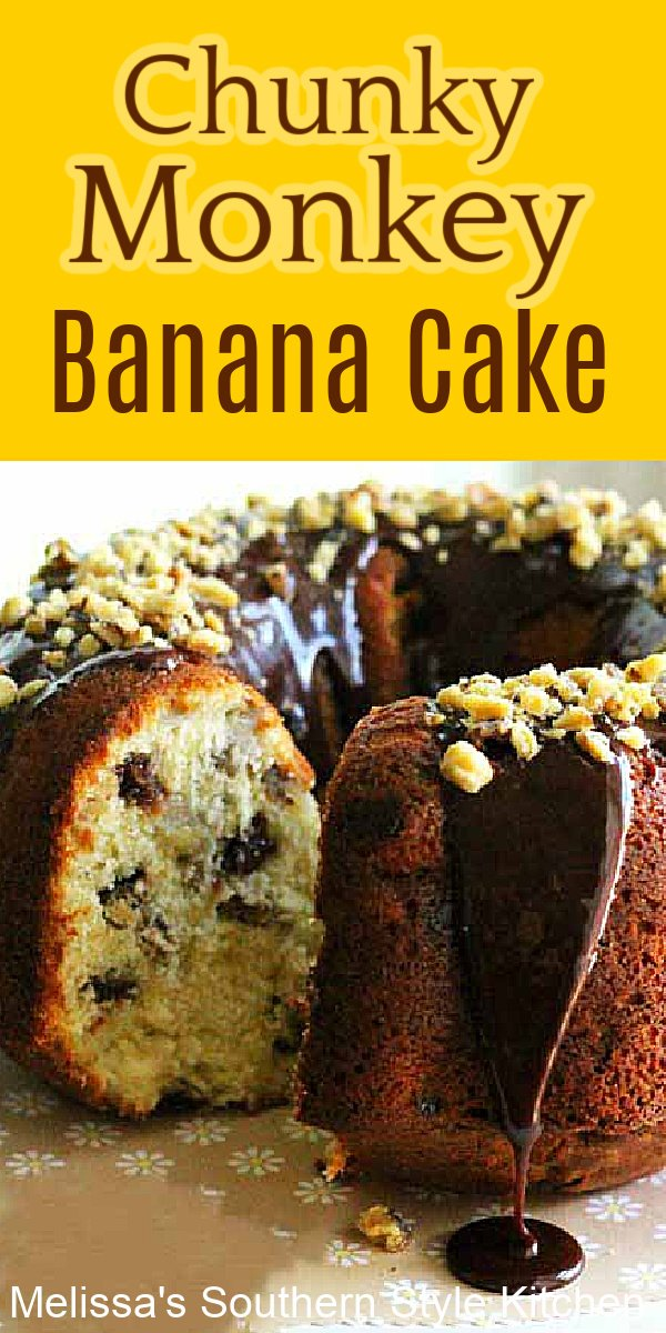 Inspired by the famous ice cream this Chunky Monkey Banana Cake won't disappoint! #chunkymonkey#bananacake #bundtcakes #bananabundtcake #chunkymonkeycake #cakes #bestcakerecipes #bananas #southerncakes #desserts
