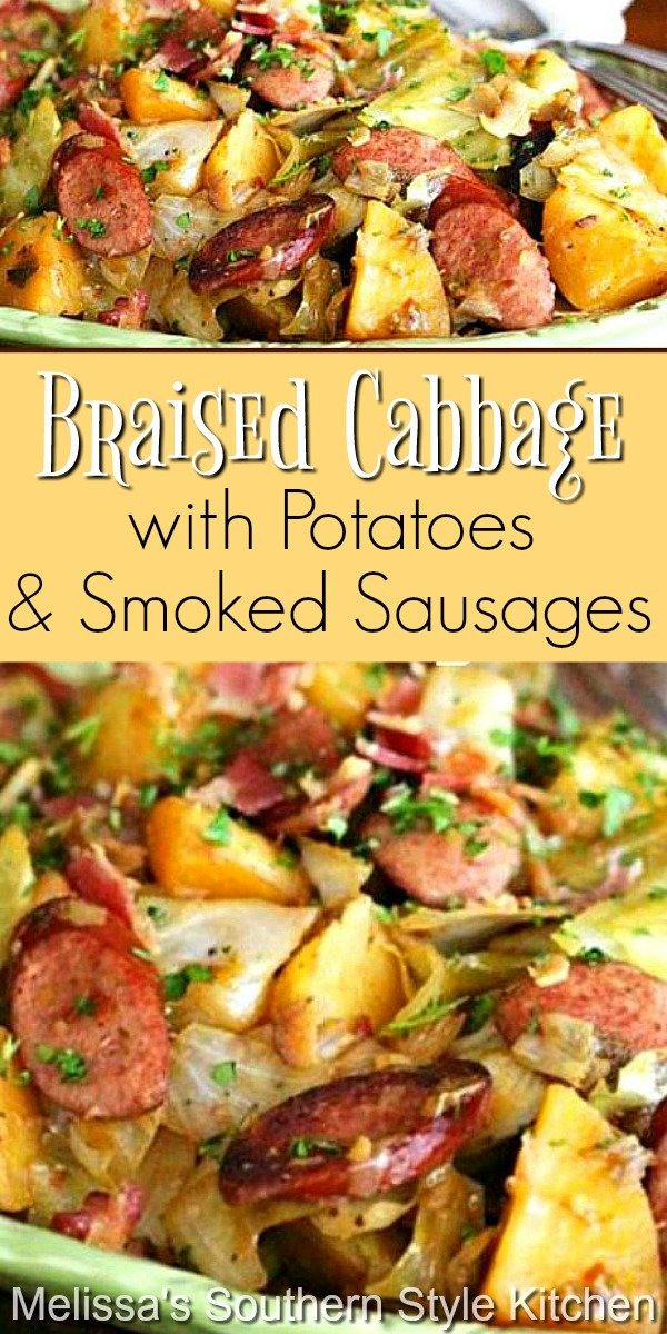 This simple braised cabbage dish is packed with flavor and won't break the bank #braisedcabbage #cabbage #friedcabbage #potatoes #smokedsausages #kielbasa #cabbagepotatoessmokedsausages #dinner #dinnerideas #southernfood #southernrecipes