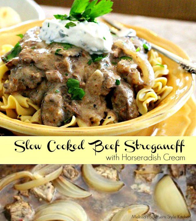 Slow Cooked Beef Stroganoff With A Horseradish Cream