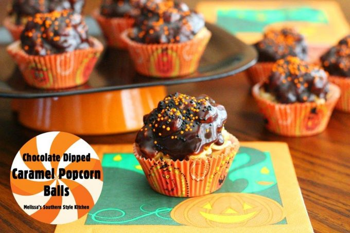 Chocolate Dipped Caramel Popcorn Balls