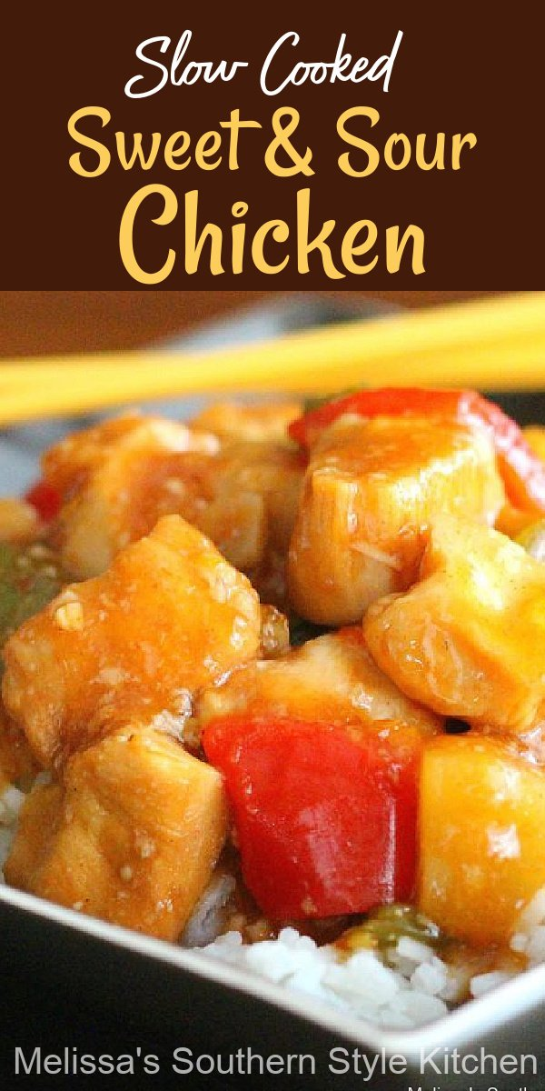 Skip the drive thru and make this Slow Cooked Sweet and Sour Chicken in your crockpot #sweetandsourchicken #copycat #easychickenrecipes #slowcooker #crockpotchickenrecipes #dinnerideas #southernrecipes #easydinnerideas #chickenbreastrecipes