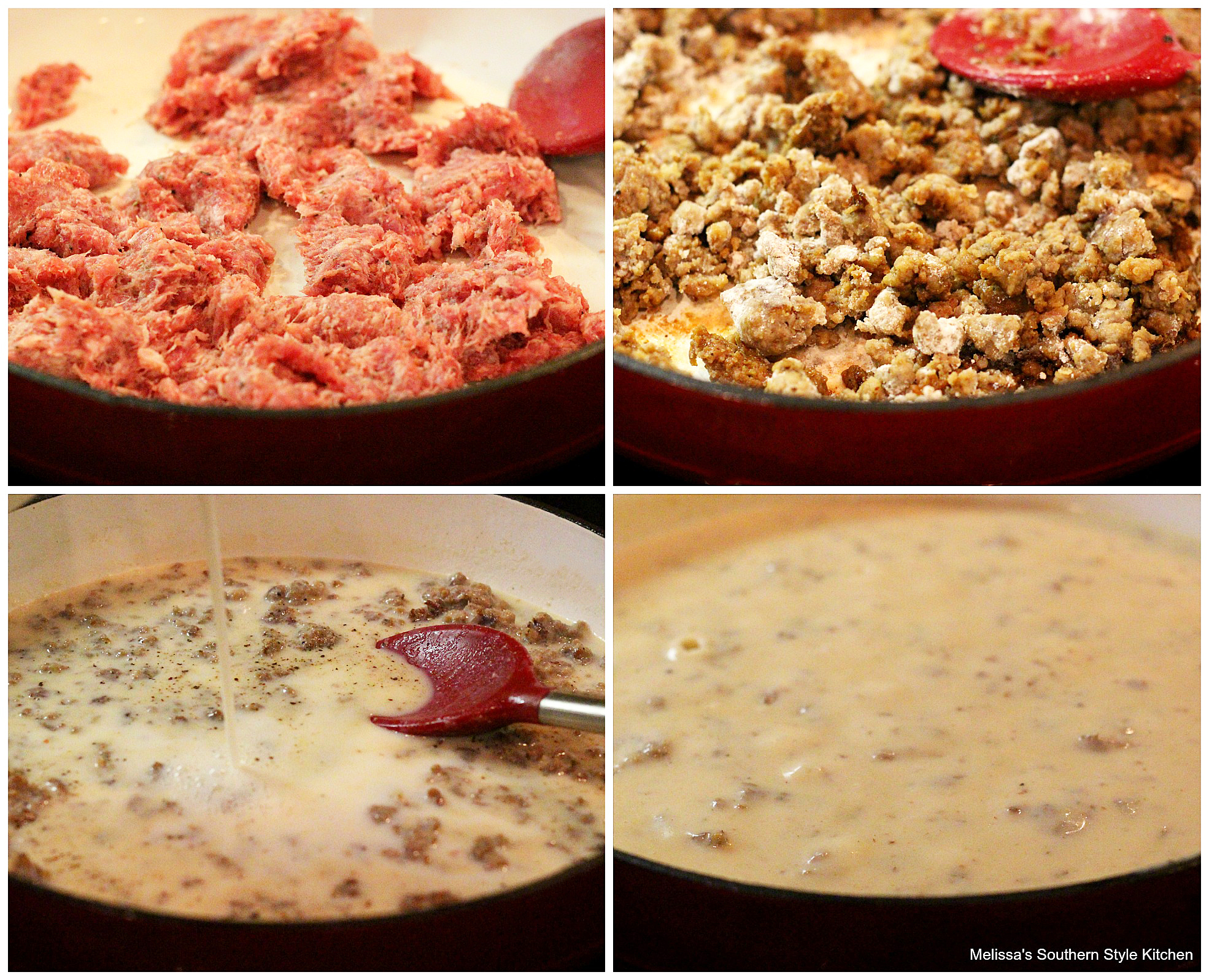 Step-by-step preparation images and ingredients for biscuits and gravy