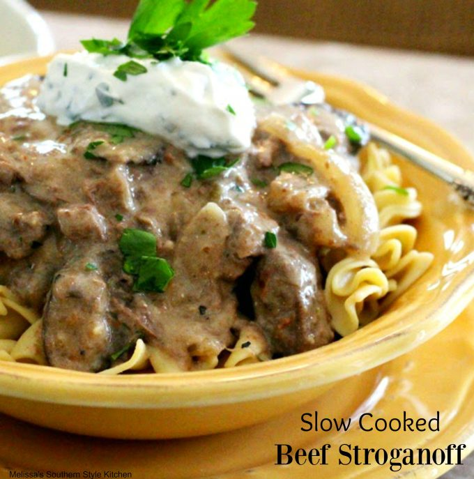 Slow Cooked Beef Stroganoff With A Horseradish Cream