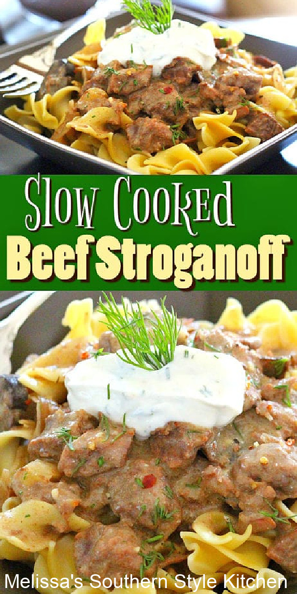 Slow Cooked Beef Stroganoff simmers top sirloin steak to tender perfection having it ready to serve over egg noodles for a weekday feast #slowcookedbeef #beefstroganoff #beefrecipes #slowcookerbeef #stroganoffrecipes #topsirloinsteak #crockpotrecipes #crockpotstroganoff