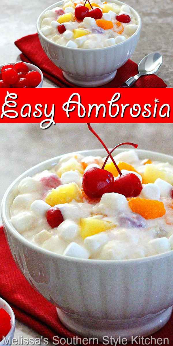 This Easy Ambrosia Recipe can be served as a fruit salad or a dessert #ambrosia #ambrosiarecipe #Southernambrosia #easyambrosia #fruitsalad #sidedishrecipes #southernfood #desserts #dessertfoodrecipe #holidaydesserts #southernrecipes