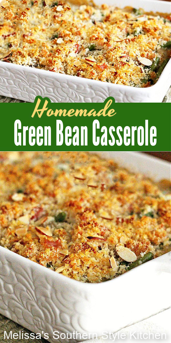 This Homemade Green Bean Casserole elevates a classic holiday side dish with a homemade sauce and BACON #greenbeancasserole #casseroles #holidaysidedishes #greenbeans #thanksgiving #dinnerideas #dinner #bacon #bestcasseroles #southernfood #southernrecipes