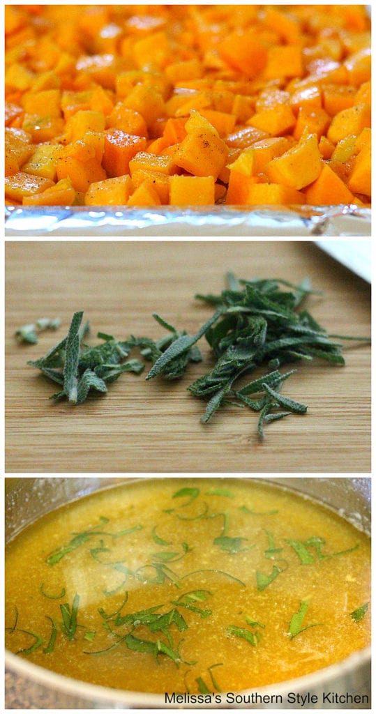 cubed butternut squash on a pan and sage on a cutting board