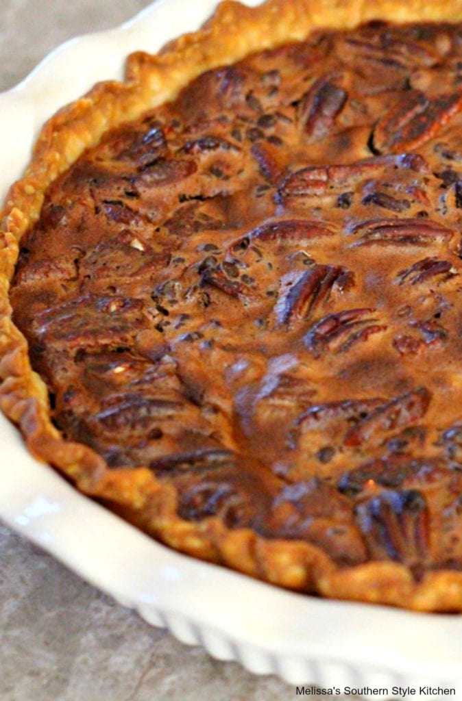baked chocolate pecan pie in a dish